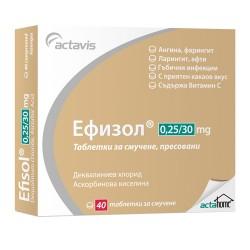 ЕФИЗОЛ таблетки за смучене 0.25 мг / 30 мг * 40 АКТАВИС