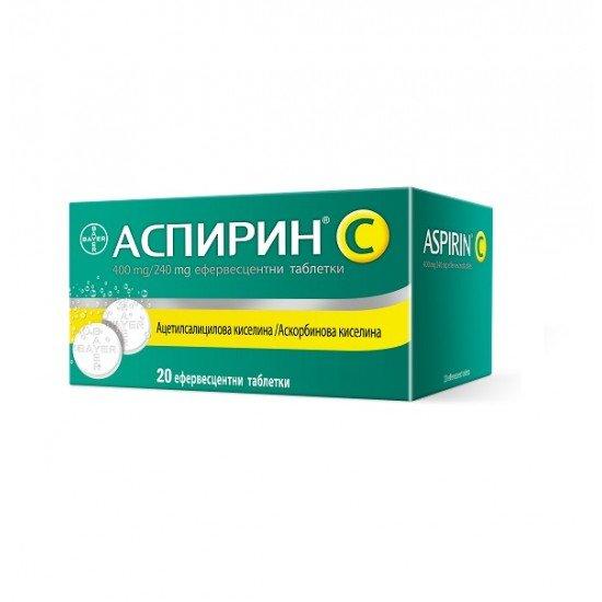 АСПИРИН + ВИТАМИН Ц ефервесцентни таблетки x20 BAYER