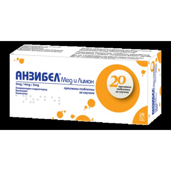 Анзибел мед и лимон х 20 таблетки за смучене