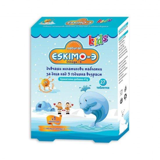 ЕСКИМО - 3 ОМЕГА 3 КИДС С ВКУС НА ПОРТОКАЛ дъвчащи таблетки х27