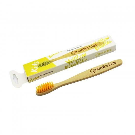 Бамбукова биоразgадима четка за зъби за деца жълта