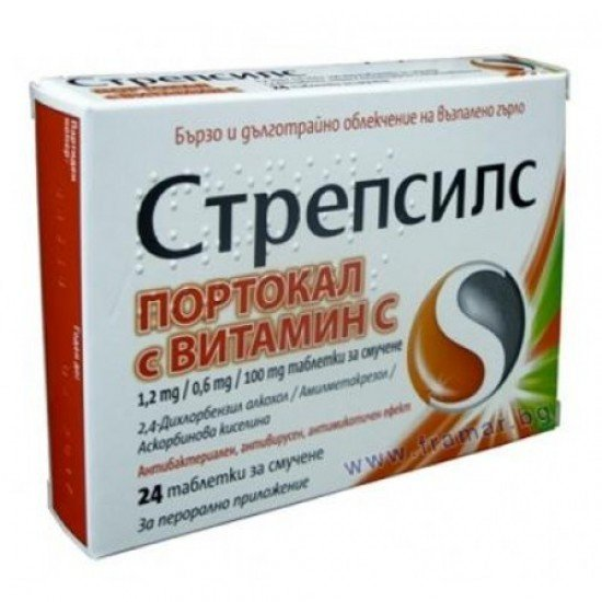 Стрепсилс с Витамин Ц х 24 таблетки за смучене