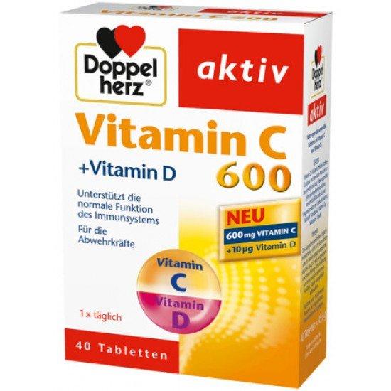 Допелхерц актив вит. Ц 600 мг. + витамин Д3 табл. * 40