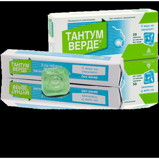 Тантум верде евкалипт без захар 3 mg х 20 таблетки